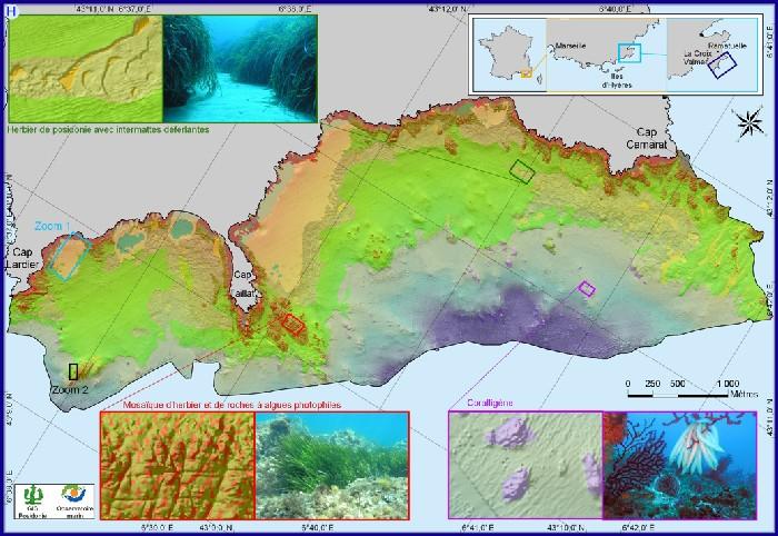 Carte des fonds marins entre la Cap Lardier et le Cap Camarat (Var)